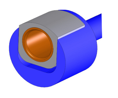 Hollow disk with guided bushing bearing